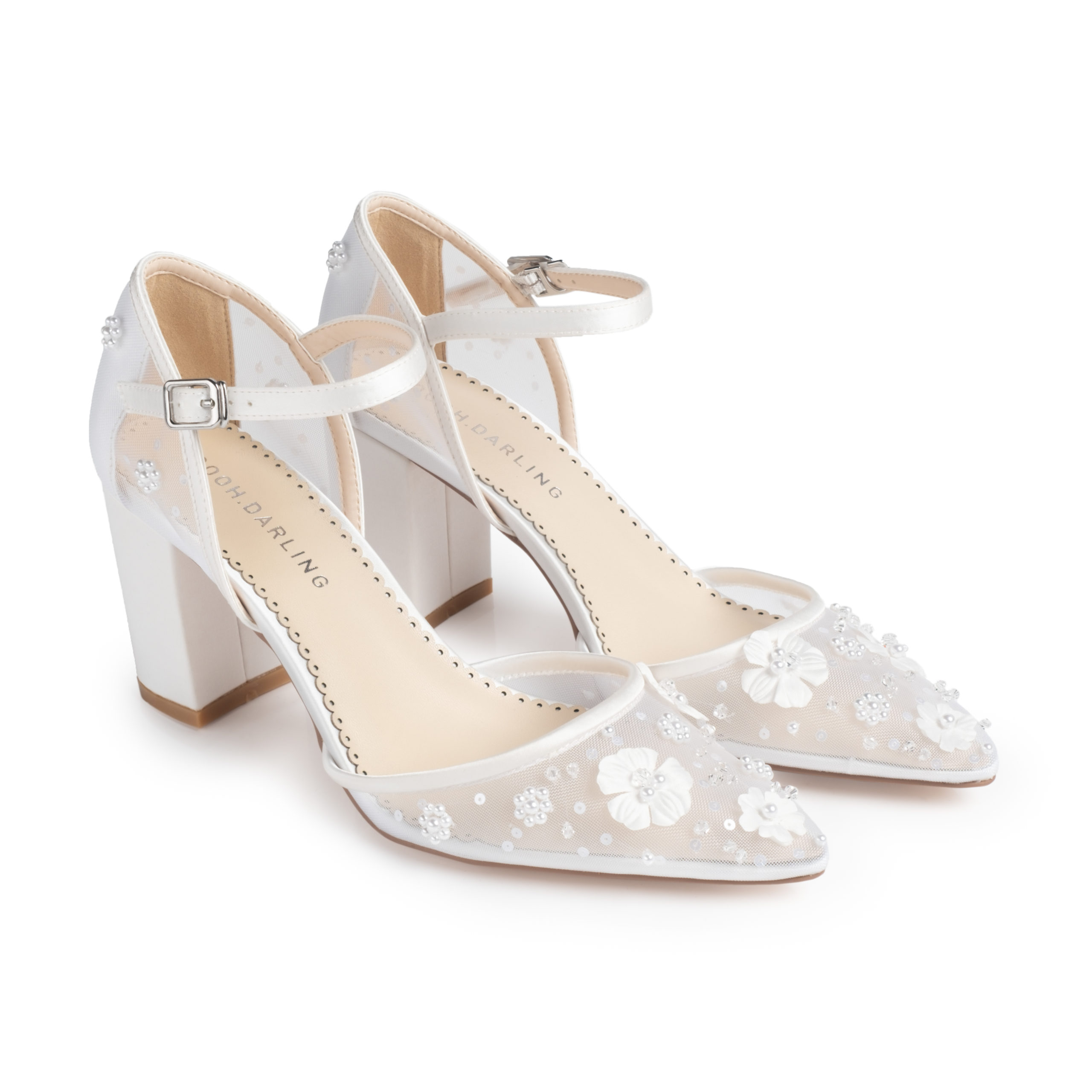 Poppy White Block Heels | Comfortable